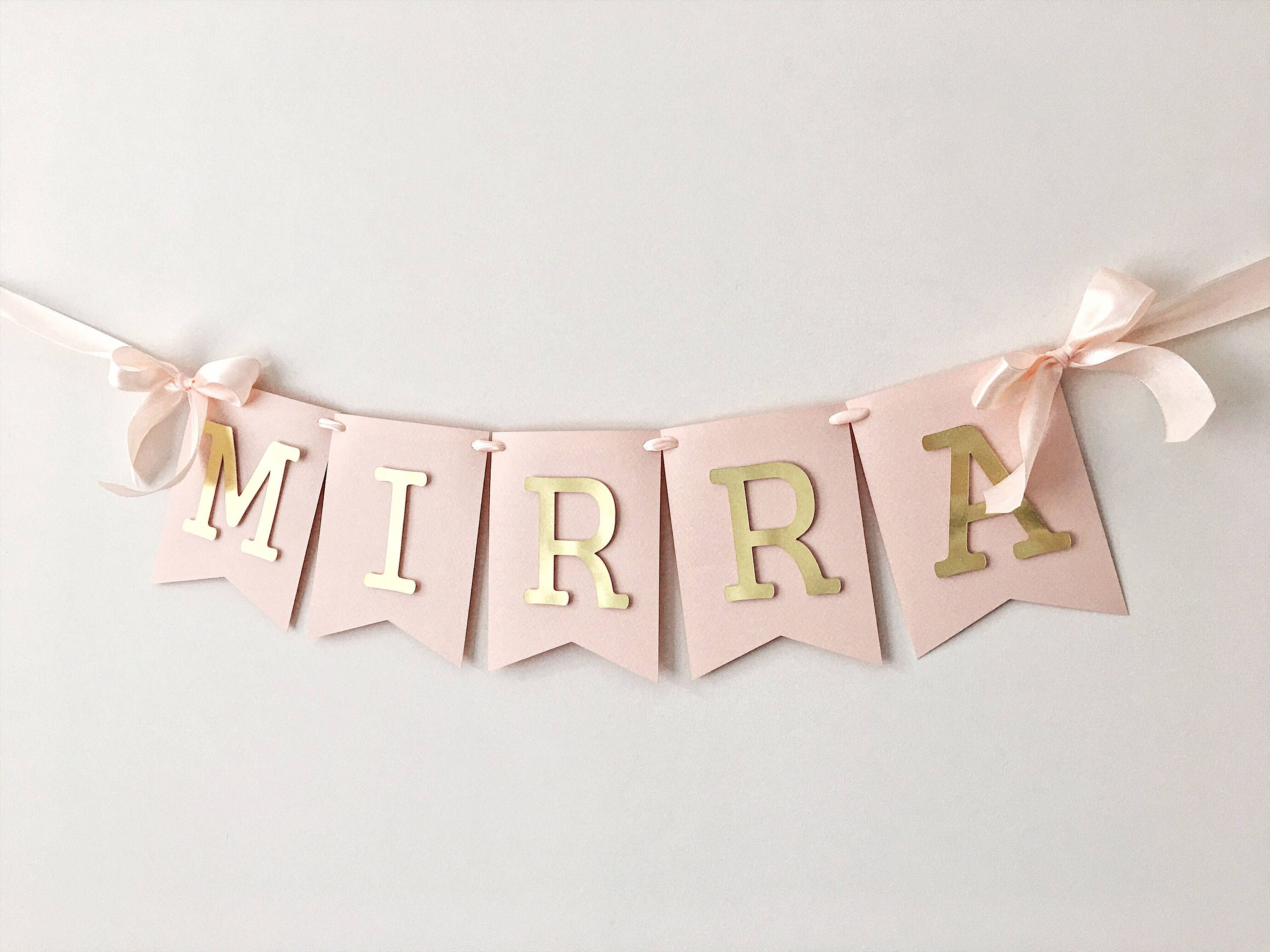 Personalised New Mum Baby Shower Bunting Banner Flags Vintage Bunny Any Name
