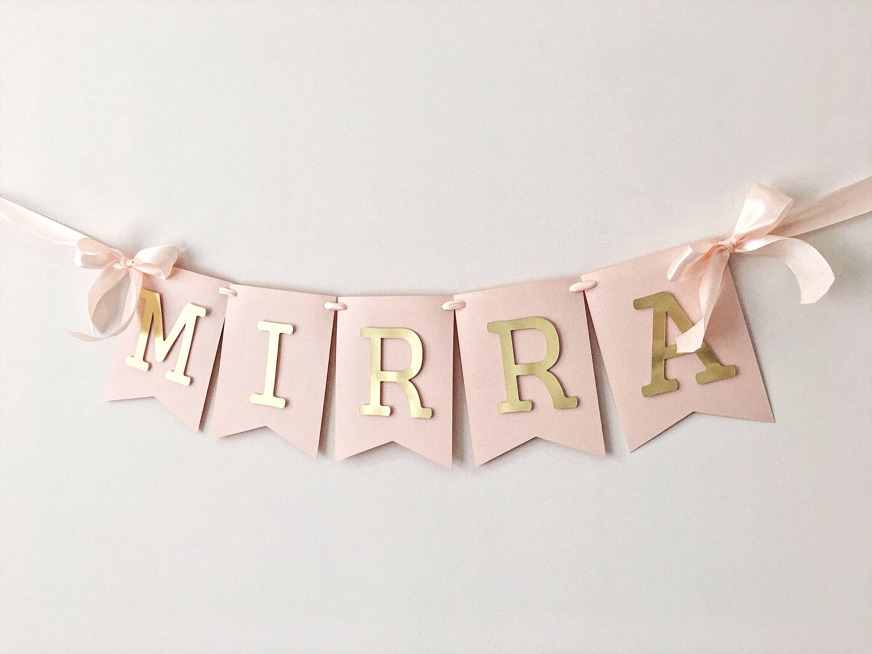 personalized name banner girl 1 st birthday banner blush rose gold