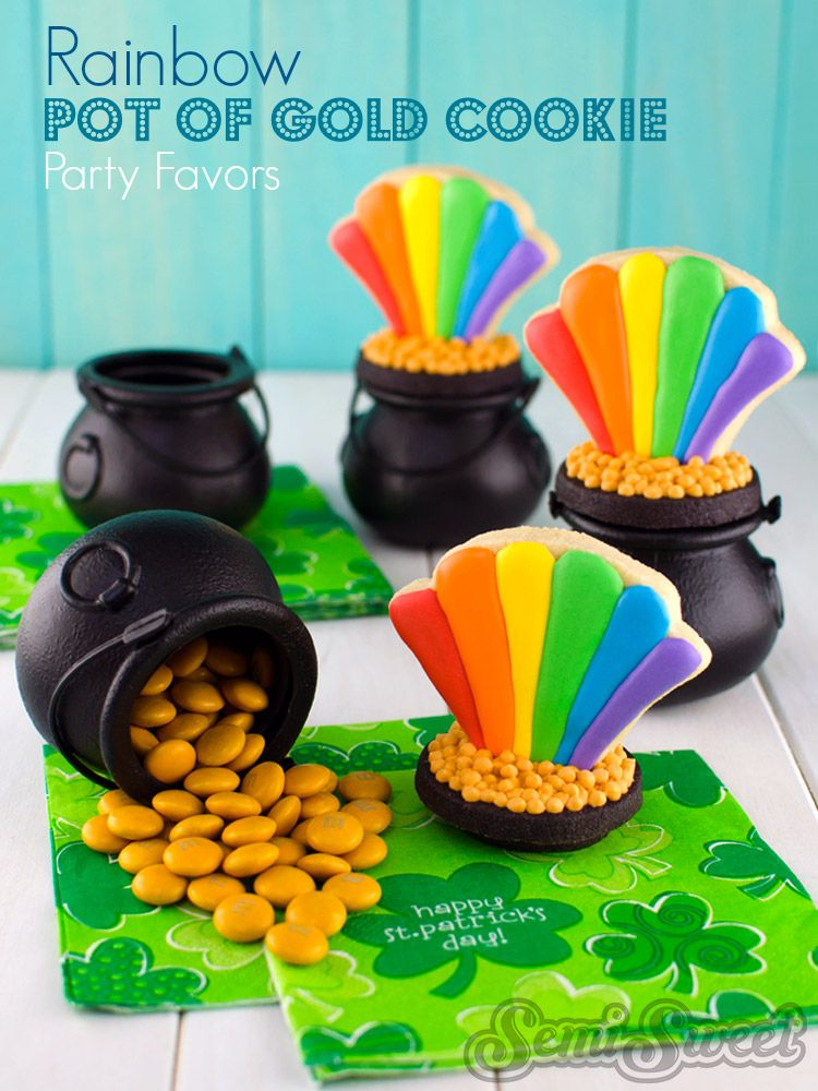 Rainbow Pot of Gold Cookie Party Favors by Semi Sweet Designs (@SemiSweetMike). Step-by-step tutorial for adding a fun topper to a plastic candy cauldron for St. Patrick's Day.