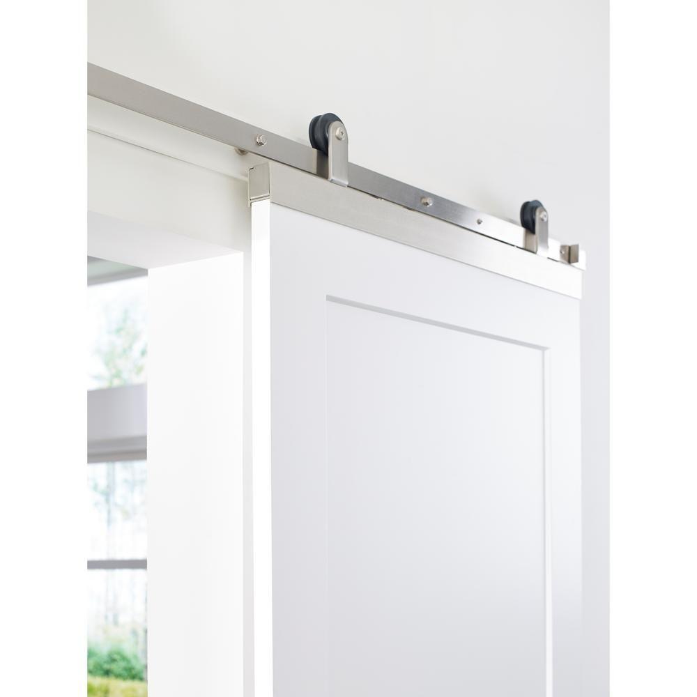Jeld Wen 72 In Designglide Satin Nickel Soft Close Barn Door Sliding Door Hardware Kit Thdjw224500004 The Home Depot Door Hardware Sliding Door Hardware Barn Door