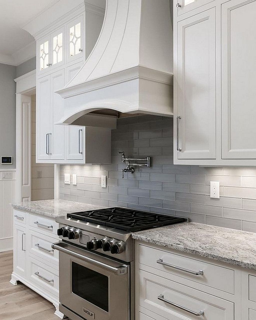 White Cabinets Gray Subway Tile Kashmir White Granite: Kitchen / Stainless Steel Stove / Range Hood