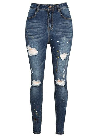 High Waist Zipper Closure Navy Blue Distressed Jeans | Distressed ...