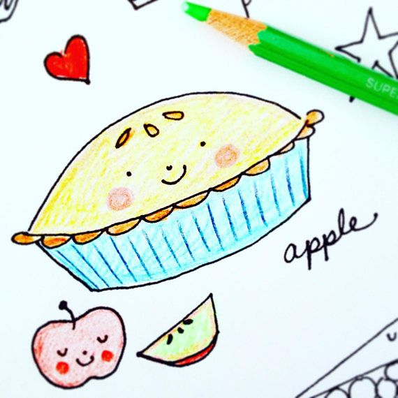 Pie Coloring Page Printable Instant Digital Download Pdf
