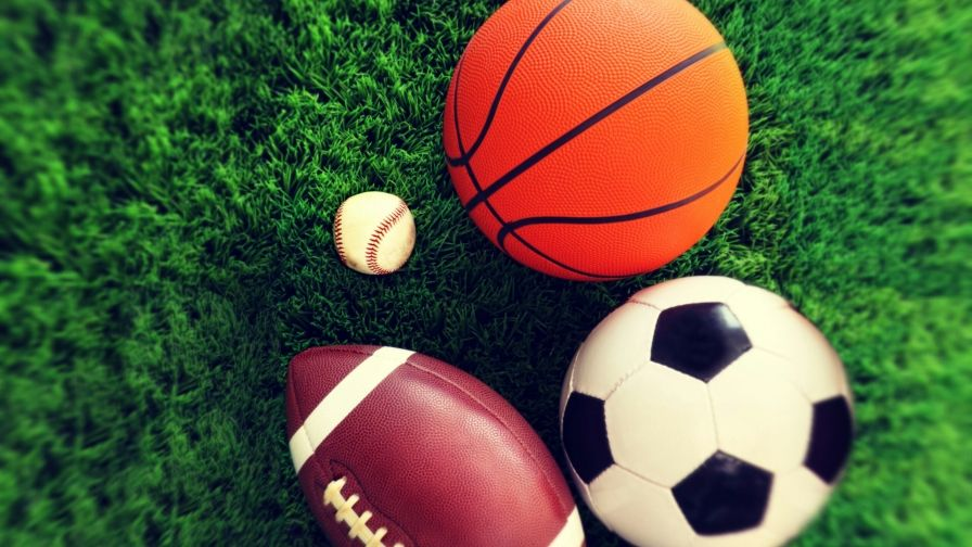 American Sports Material Wallpapers: Baseball Soccer American Football And Basketball On Green