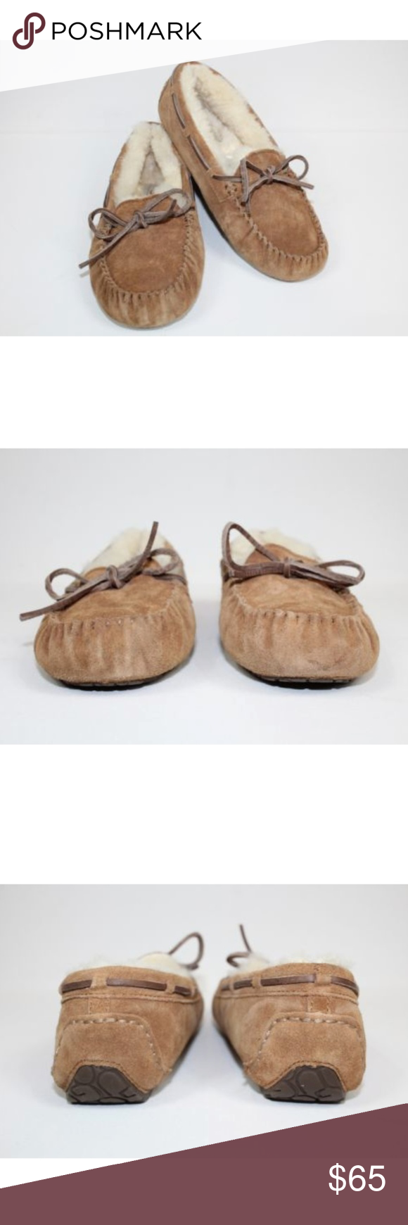 79890651ada Ugg Dakota Slippers Chestnut Brown Suede Moccasins UGG Kids Dakota Chestnut  Brown Suede Slippers w