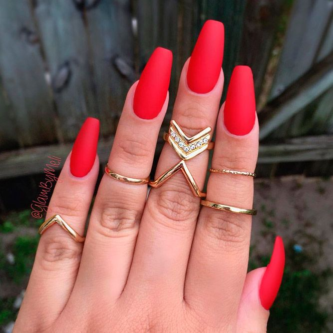 40 Fantastic Designs For Coffin Nails You Must Try | Red ...