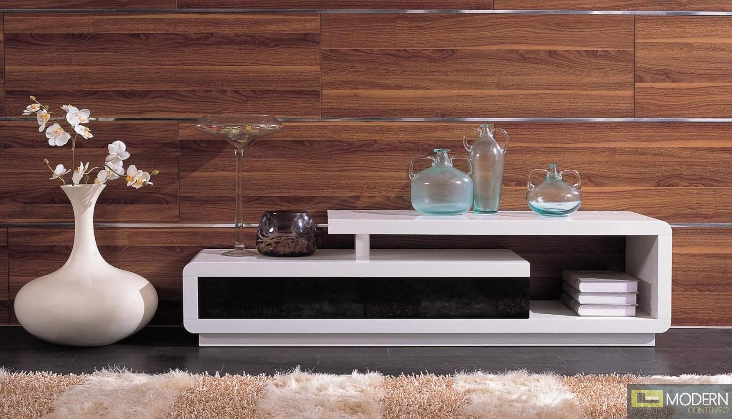 Modrest D3033 Modern White And Black Tv Unit New House Ideas  # Muebles Fiasini