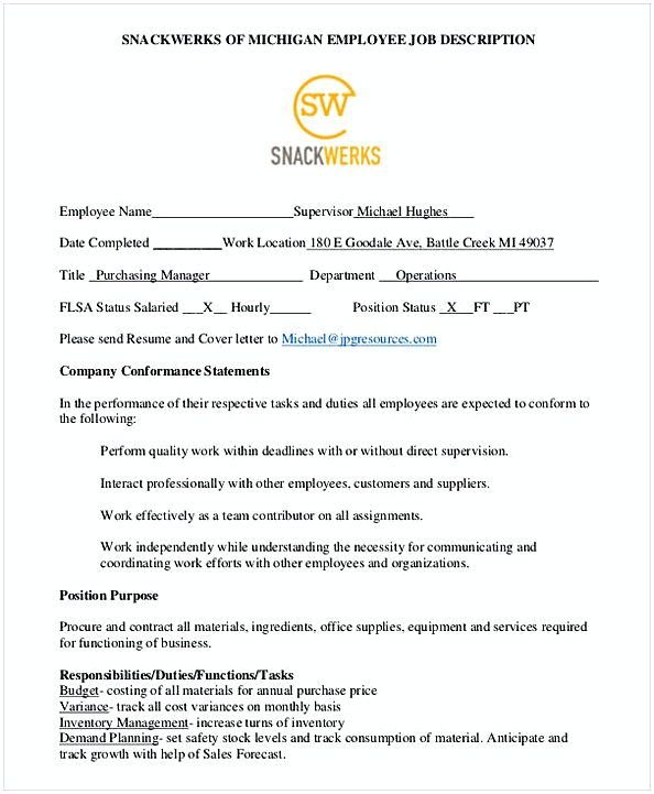 SnackWerks Purchasing Manager Job Description , Purchasing Manager - school attendance officer sample resume