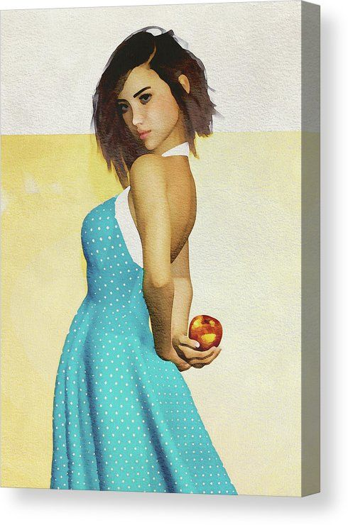 Girl Holding An Apple Canvas Print by Jan Keteleer.  All canvas prints are professionally printed, assembled, and shipped within 3 - 4 business days and delivered ready-to-hang on your wall.  #portrait #faces #flowers #fineartamerica