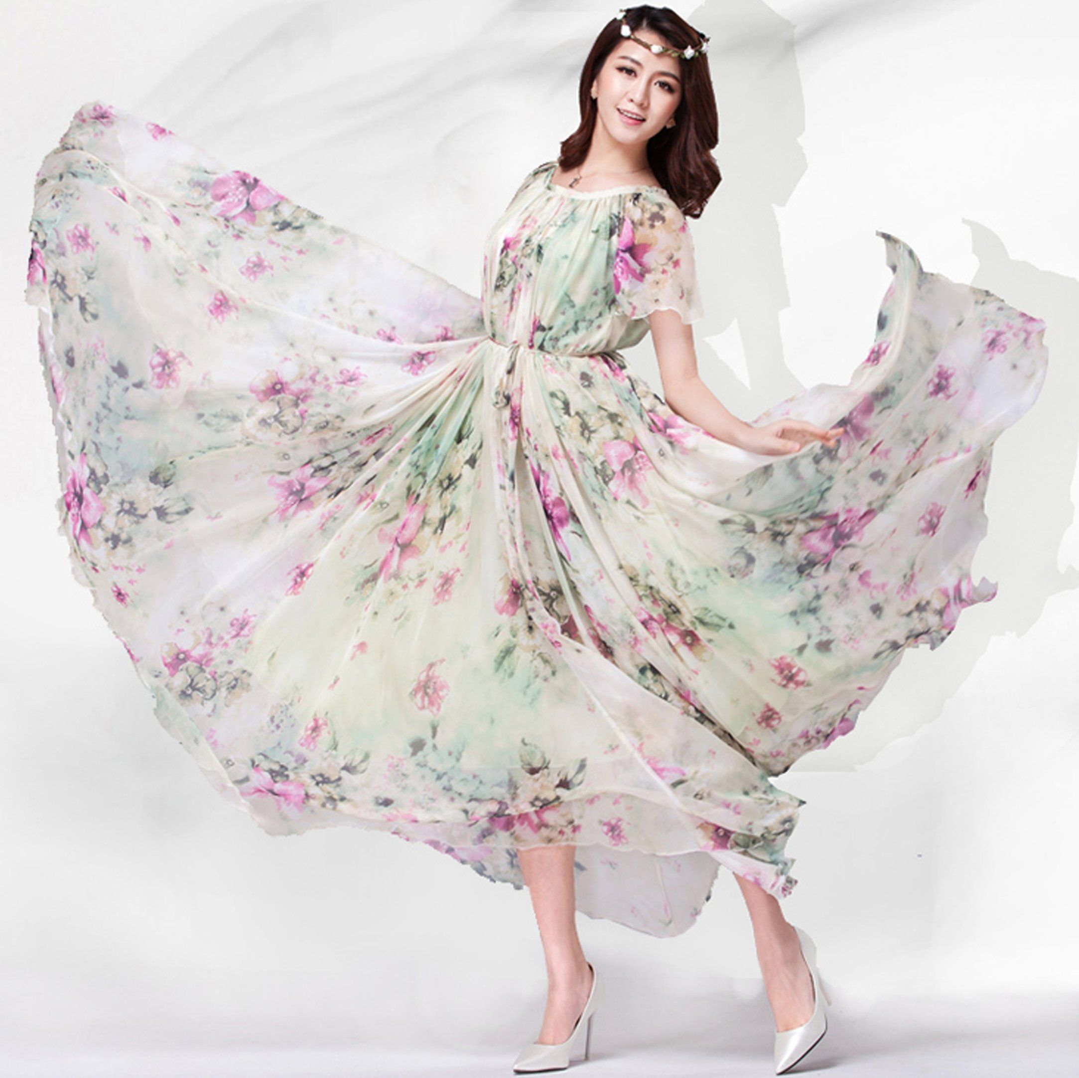 cb601258800 Medeshe Women s Chiffon Butterfly Sleeves Bridesmaid Holiday Beach Floral  Dress Sundress  Amazon.ca  Clothing   Accessories
