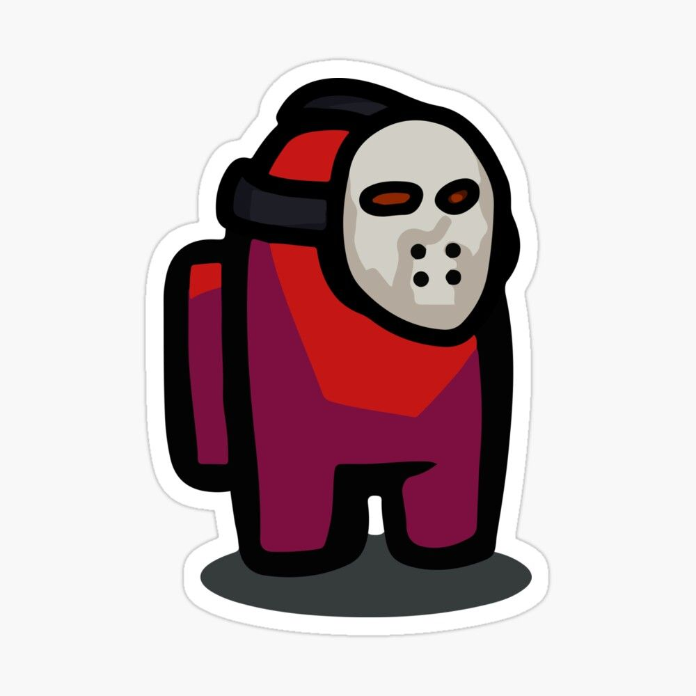 Among Us Crewmate (Red) Mask Sticker Sticker