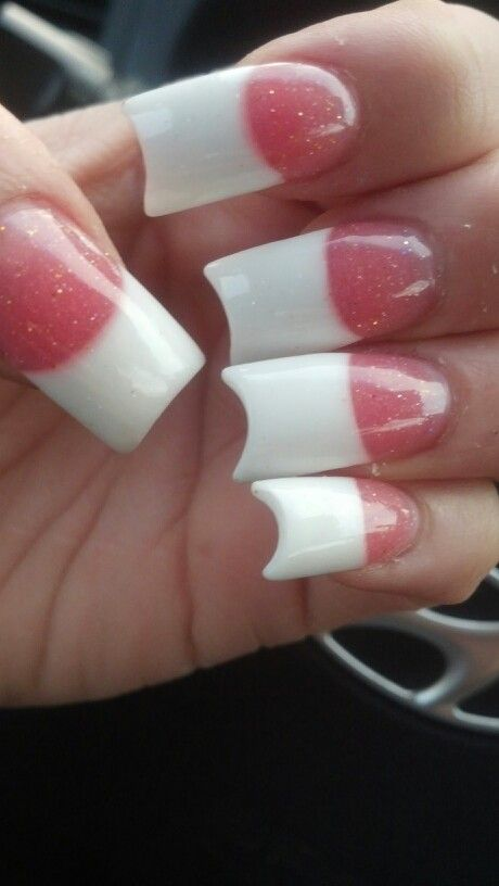 Basic Pink And White Acrylic With Glitter Tip Shape Of A Have Moon Hair Make Up Nails And More Pink Nail Designs Nails Nail Art