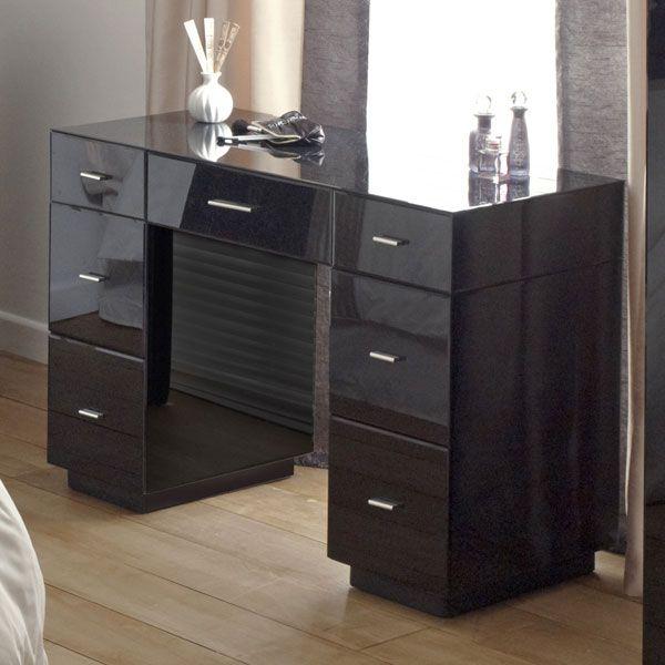 Venetian Black 7 Drawer Dressing Table Black Bedroom Furniture