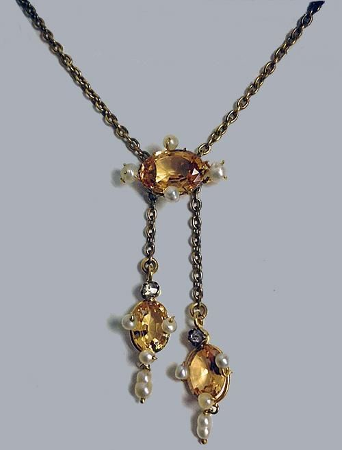 Fine Imperial Topaz, Pearl, Diamond Necklace, English C.1900.