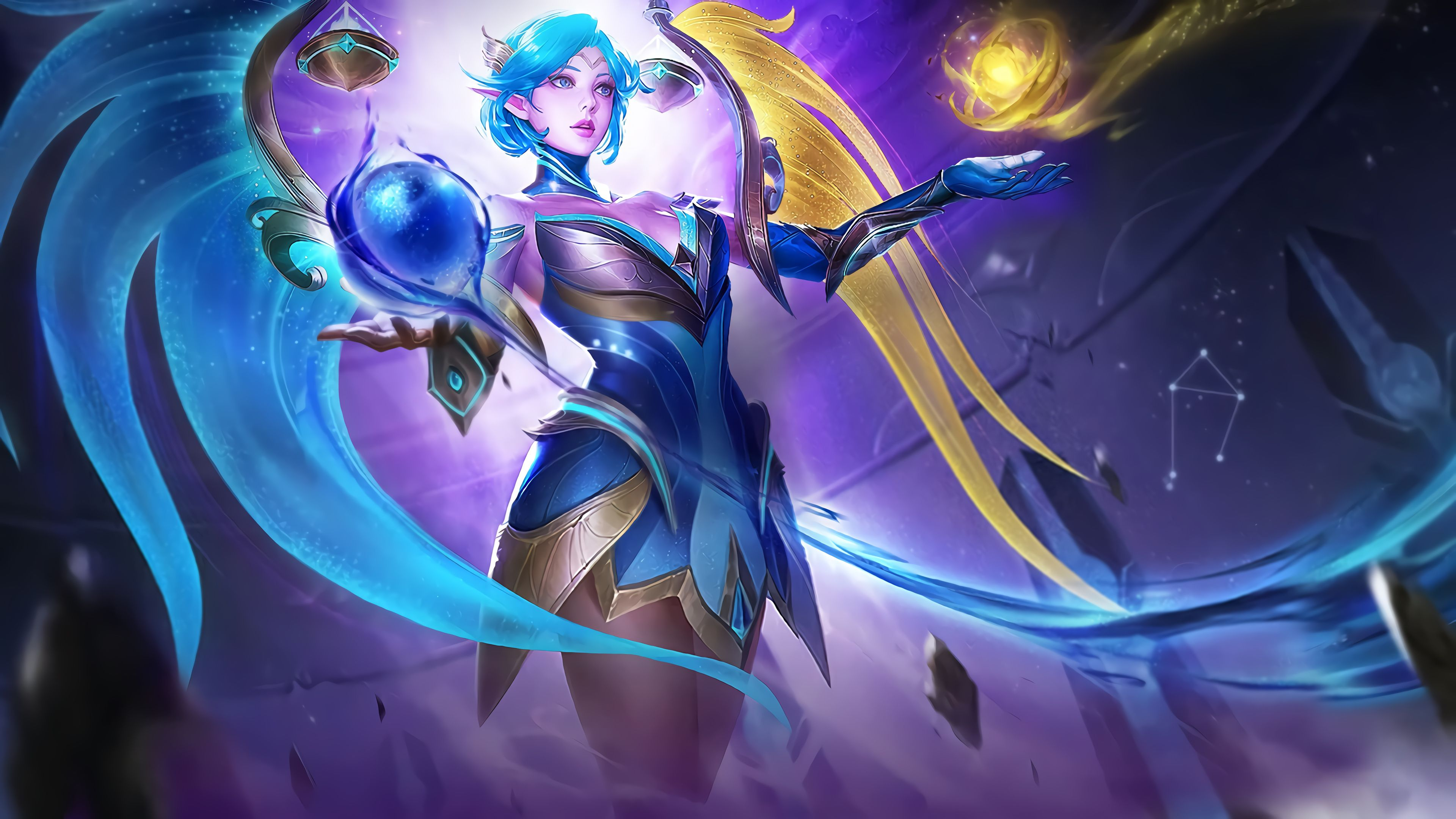 3840x2160 Mobile game, girl warrior, blue hair, art wallpaper