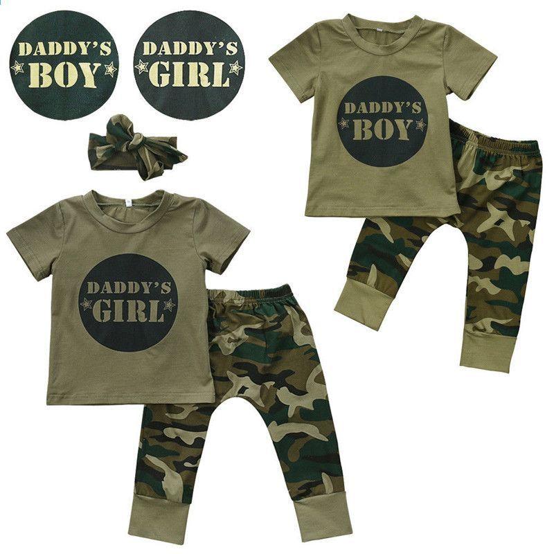 niños de moda verano bebé niños niñas conjuntos de ropa arco 3 unids  camuflaje traje deportivo 206afa246888