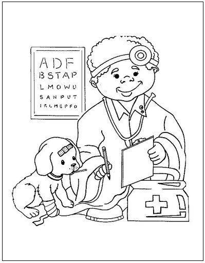 dokter thema kleurplaten dierenarts