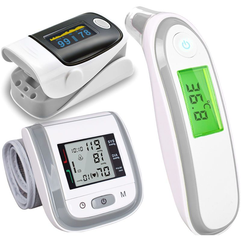 Thermometre Electronique Infrarouge Oxymetre Et Sphygmomanometre Gris E9292gy Blood Pressure Infrared Thermometer Body Care