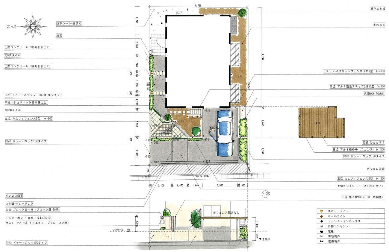 エクステリア 外構の平面図と立面図です 新築時にセットバックが