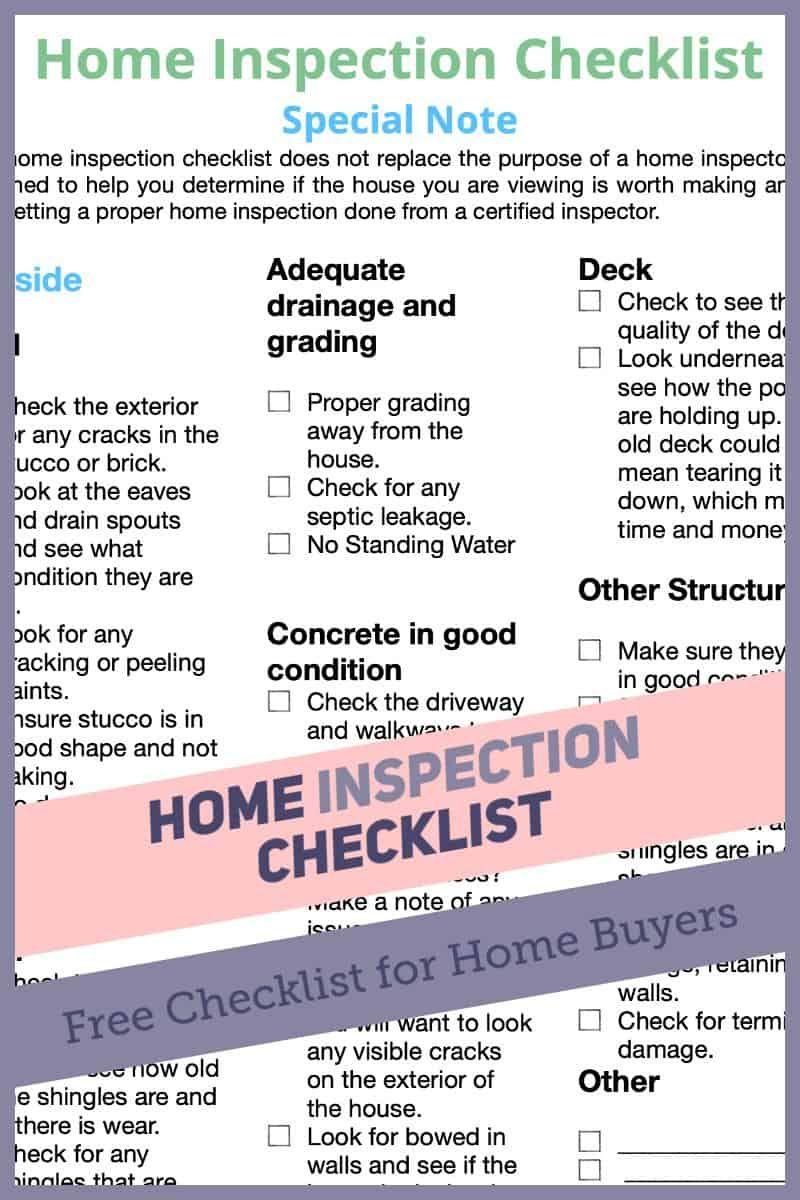 Home Inspection Checklist Are Pdf Printable Inspection Checklist Home Inspection New Home Checklist