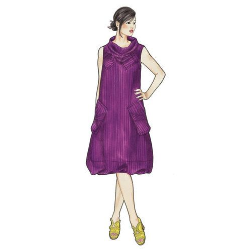 """Tosca Dress Loose, sleeveless, pullover dress with funnel neck and deep exaggerated armholes. Topstitched chest pockets and bagged hip pockets. Soft-fold offset 5"""" hem. Optional front tucks."""