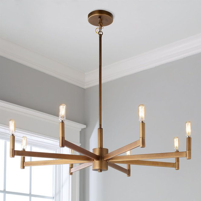 Sleekly modern squared chandelier 8 light chandeliers canopy check out sleekly modern squared chandelier 8 light from shades of light less is more with this sleek minimalist chandelier the thin bar arms and simple aloadofball