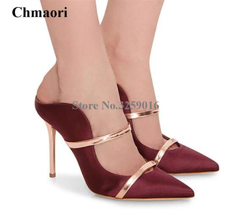 Kitten Heel Pumps Satin Pointed Toe Rhinestones Slip On Pumps Mujeres Zapatos de vestir 5gJypk