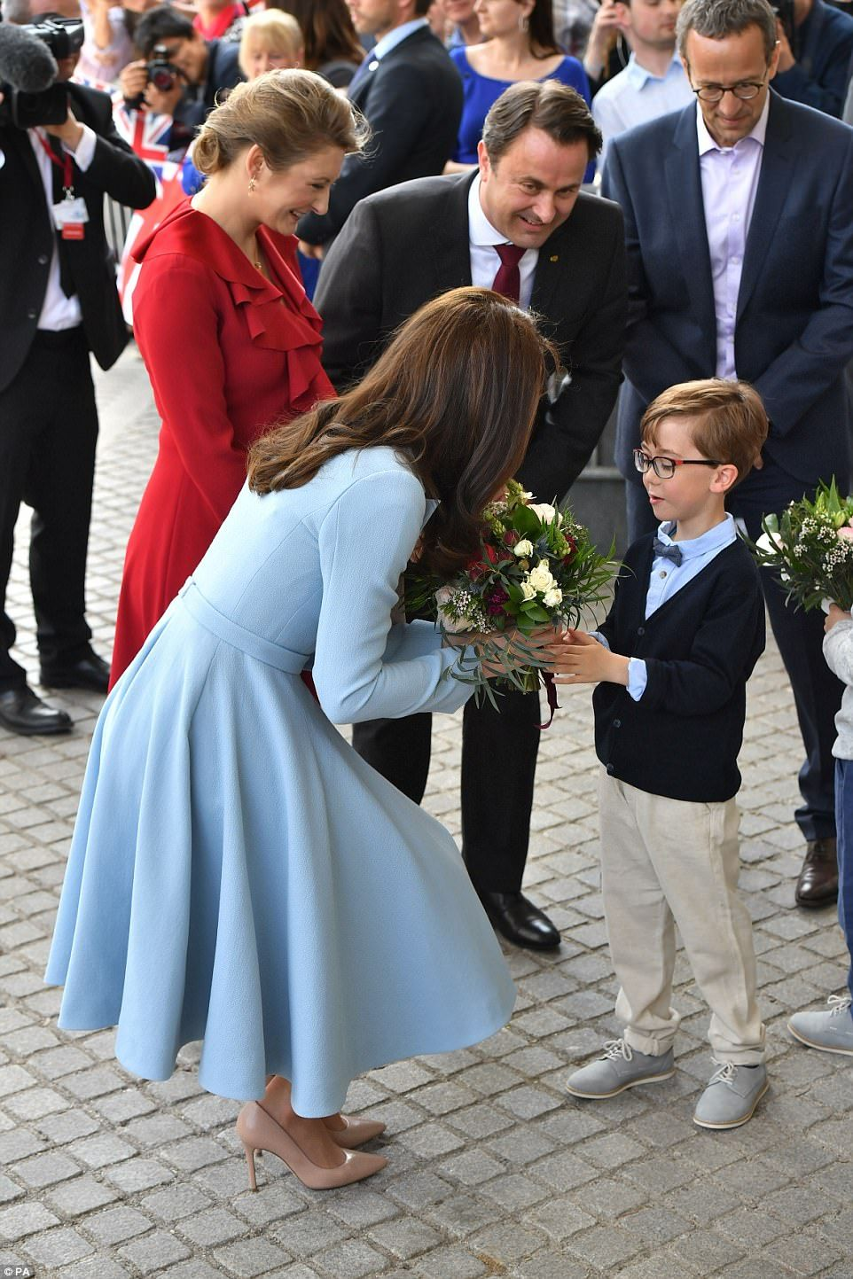 Six-year-old twins Gabriel and Charles were chosen to present the Duchess with a bouquet ...