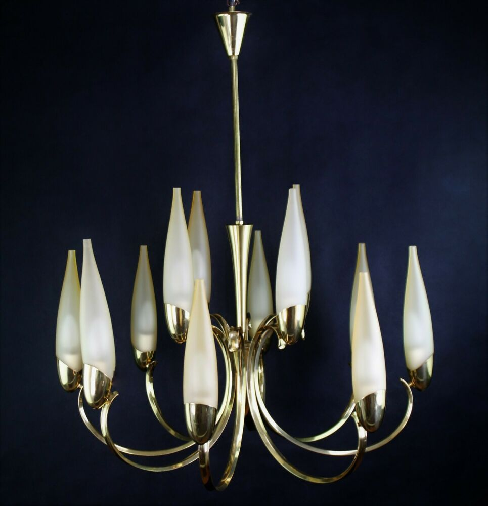 12flammiger Kronleuchter Mid Century Lampe Hängelampe Vintage Stilnovo Stil Hängelampe Vintage Kronleuchter Lampe