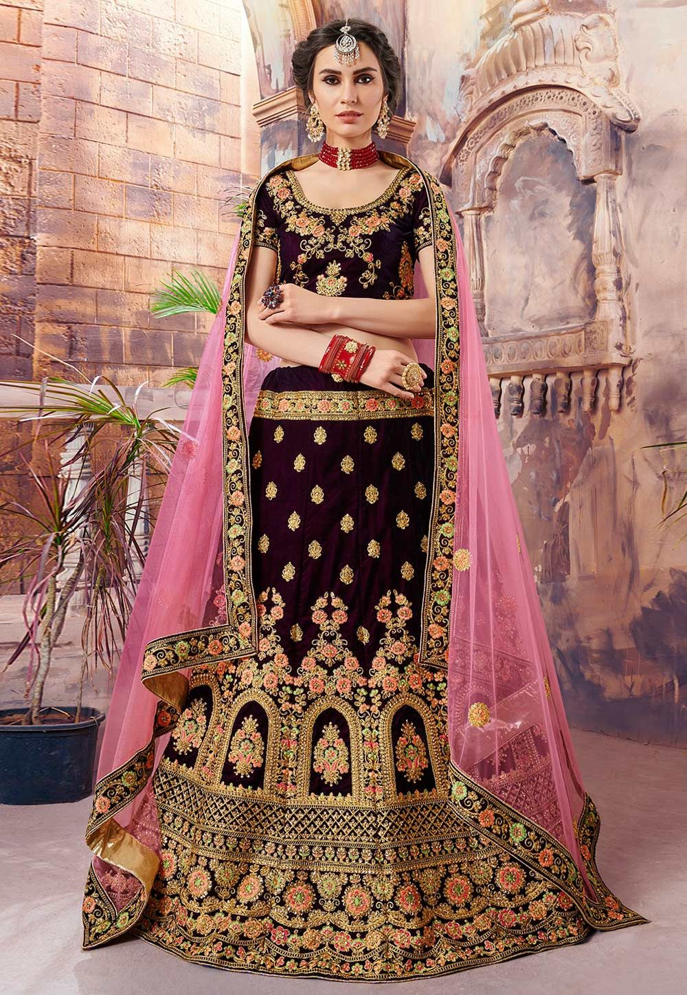 381ab9a1cd Buy Purple Velvet Circular Lehenga Choli 157214 online at best price from  vast collection of Lehenga Choli and Chaniya Choli at Indianclothstore.com.