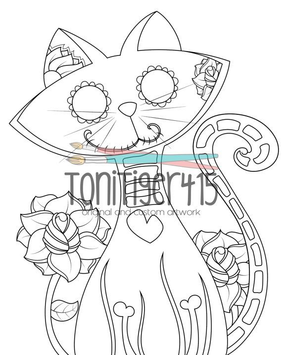 Sugar Skull Cat Drawing, Instant Digital Download Coloring Page ...