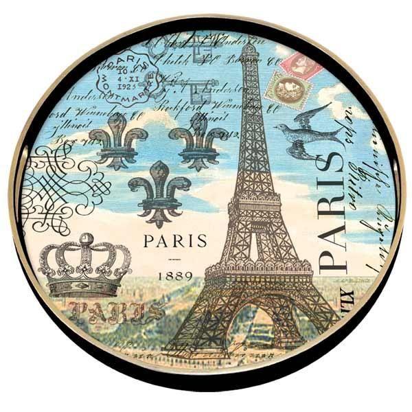 Paris Round Decoupage Wooden Tray