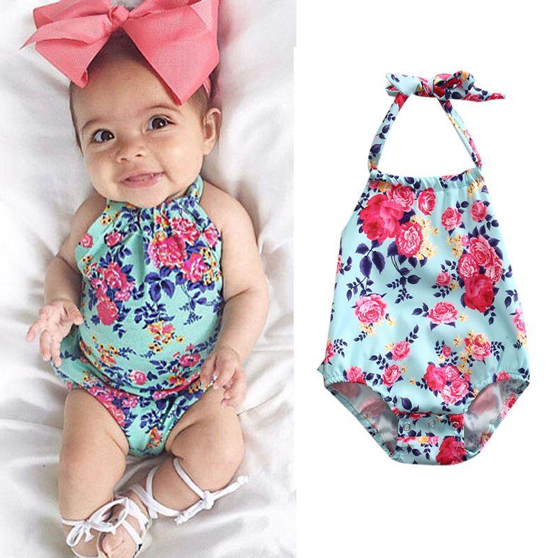 Newborn Baby Girl Floral Romper Hat Bodysuit Jumpsuit Playsuit Clothes Outfits
