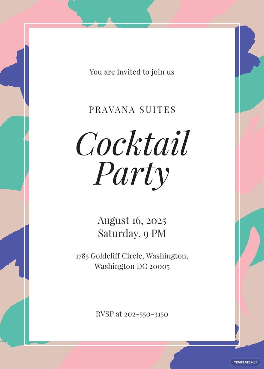 FREE Printable Cocktail Party Invitation Template - Word (DOC