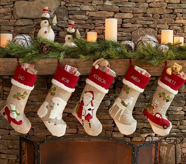 personalized-christmas stockings ideas rustic decor fireplace ...