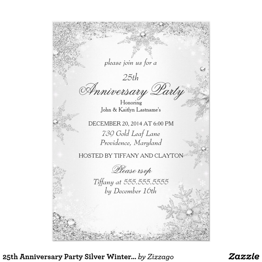 25th Anniversary Party Silver Winter Wonderland Card (Metallic Ice ...