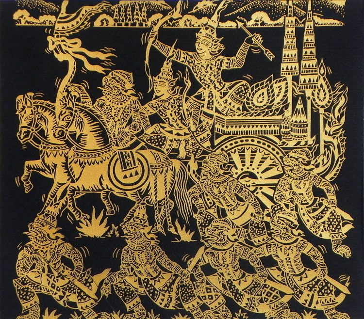 Rama, Lakshmana and Hanuman with their Army (Screen Print on silk - Unframed))