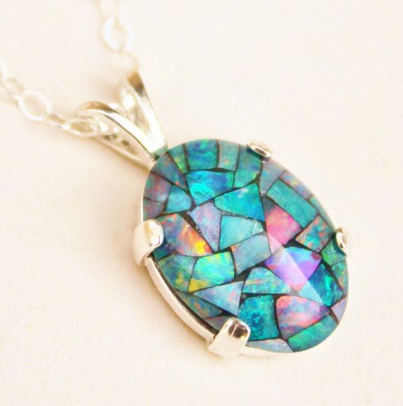 Sterling Silver Jewelry Pendants /& Charms Created Blue Opal Oyster Pendant