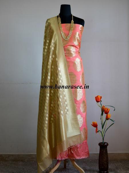 1b1cc7ab516754 Banarasee Banarasi Salwar Kameez Semi Katan Silk Zari Buta Design Fabric  With Contrast Dupatta-Peach