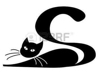 Silhouette Chat Chat Noir Couche Sur Fond Blanc Art Katzen