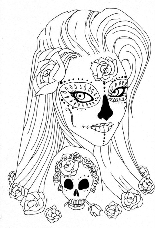 Coloring Pages Coloring Pages For Adult Tattoo Sugar Skull