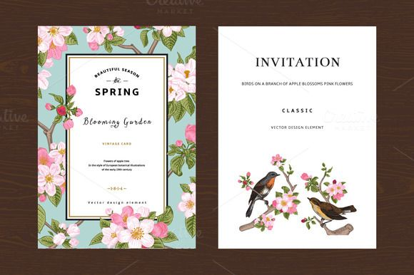 Blossoming Apple Spring Vector Card By Olgakorneeva On