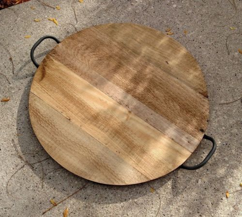 Large Round Reclaimed Wood Serving Tray With Iron Handles Serving Tray Wood Wood Pallet Crafts