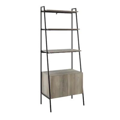 Walker Edison Grey Wash Metal 4 Shelf Ladder Bookcase At Lowes Com