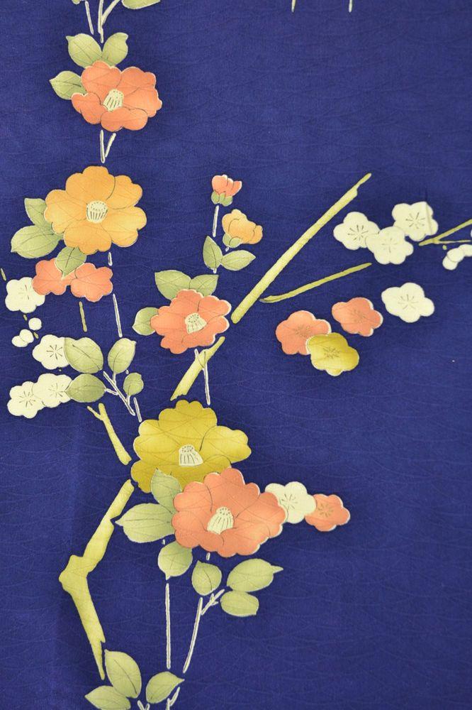 VINTAGE SILK KIMONO FABRIC:Camellia/Plum Blossom@G63