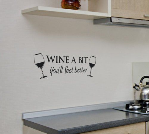 wine a bit kitchen vinyl wall quote sticker by cols decals uk cols