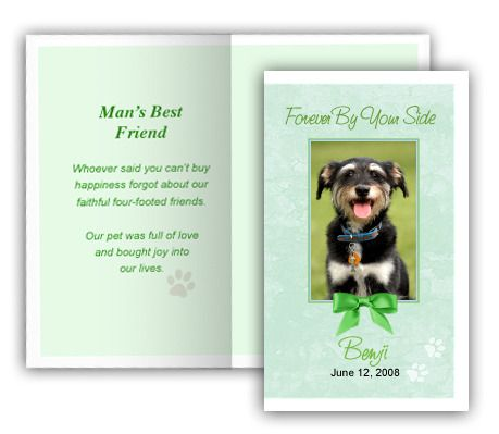 Green Pet Memorial Folded Card Template, 4 per sheet, Edit in - memorial card template