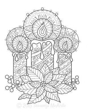 Christmas Coloring Book Candles By Thaneeya Mcardle Ingles 6
