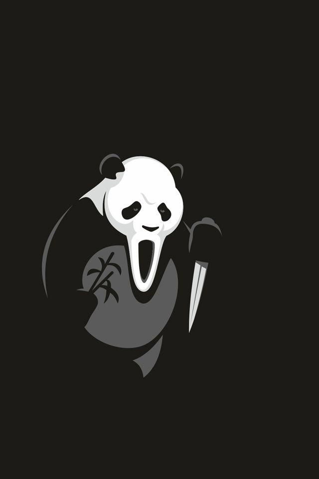 Panda Halloween Wallpaper Panda Halloween Minimal Minimalism Iphone Wallpaper Iphone Wallpaper Wallpaper Panda