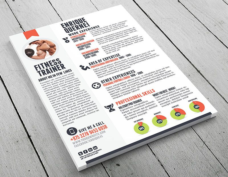 Fitness-Trainer-Resume-preview Work Ideas Pinterest Cv template - resume personal trainer